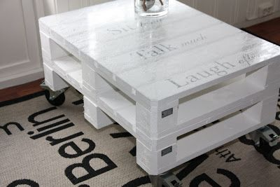 Here you can see how to make a coffee table composed of only 2 small pallets put together horizontally. It has been painted of bright white and also has been added 4 standard wheels,  they are sold…