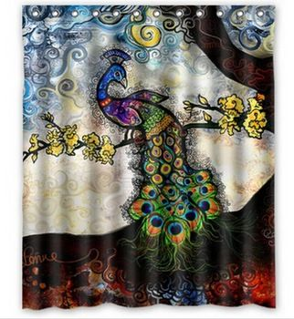 Peacock Painting Shower Curtain