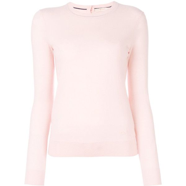 Tory Burch Crewneck Cashmere Sweater With Logo (£285) ❤ liked on Polyvore featuring tops, sweaters, long sleeves, pink, slim sweaters, crew neck sweaters, slim fit crew neck sweater, pink cashmere sweater and cashmere crew neck sweater