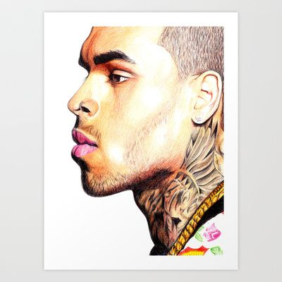 Breezy Chris Portrait Art Print by DeMoose_Art - $20.00 Free Shipping + $5 Off Each Item in your shop!