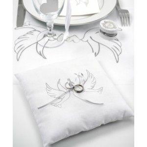 Coussin alliances colombes coton blanc et noeud ruban gris, Coussin alliances blanc carré 2 colombes grises, mariage, pacs, fiançailles.