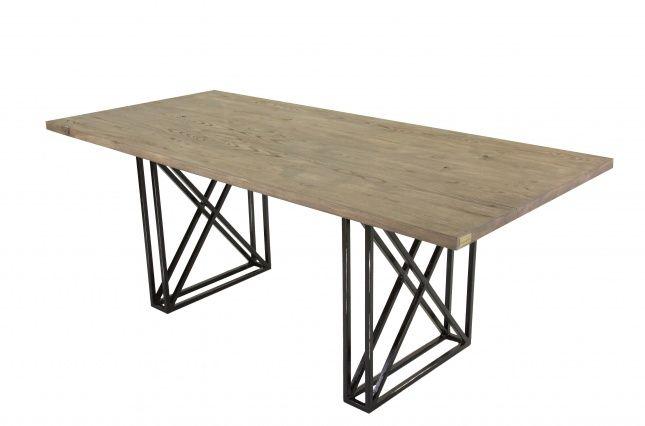 Stół Industrial Wymiary: długość: 200cm, szerokość: 90cm, wysokość: 76cm Grubość blatu: 3,5 cm Materiał: Drewno jesionowe/stal  Stół to miejsce sp