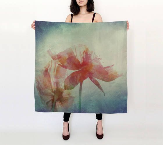 Silk square scarf,printed floral scarf,pure silk scarf,watercolor scarf,art scarf,silk shawl,blue scarf,cover-up,gift for her,pink flower by OkopipiDesign on Etsy