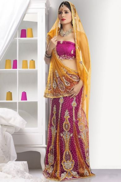Gamboge Yellow and Red-violet Net Embroidered Lehenga Style Saree Sku Code:345-4253SA314674 $ 175.00