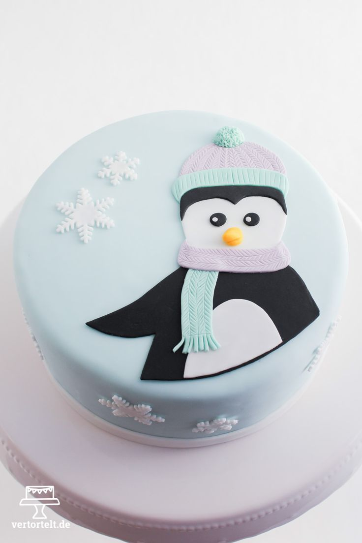 Wintertorte mit Pinguin - winter cake with penguin
