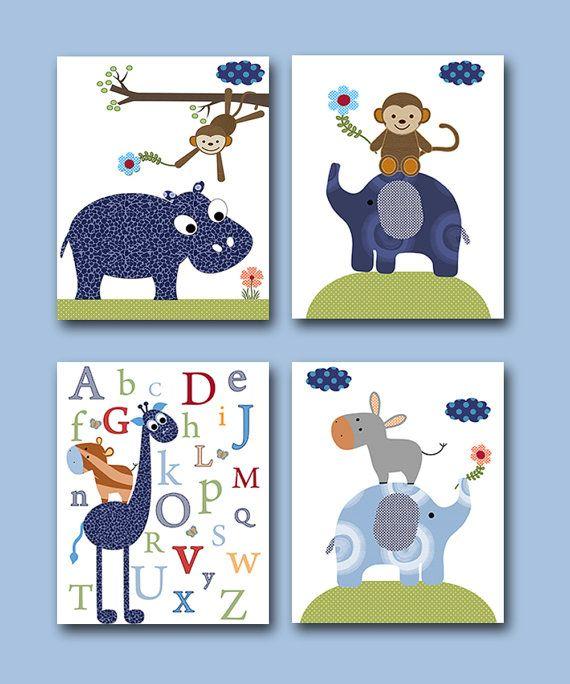 Baby Boy Nursery art print Children Wall Art Baby Room Decor Kids Print set of 4 8x10 monkey elephant giraffe nursery alphabet nursery blue
