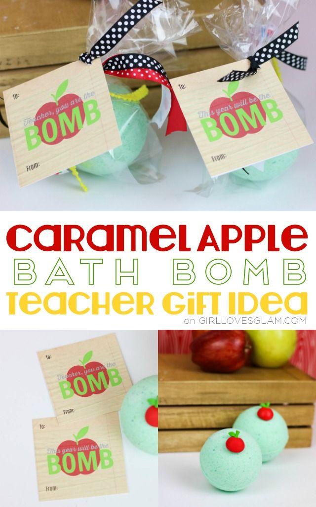 Caramel Apple Bath Bomb Teacher Gift Idea on www.girllovesglam.com