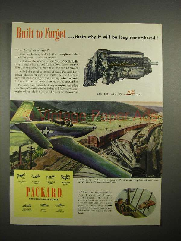 1945 WWII Packard Aircraft Engine Ad - Built to Forget