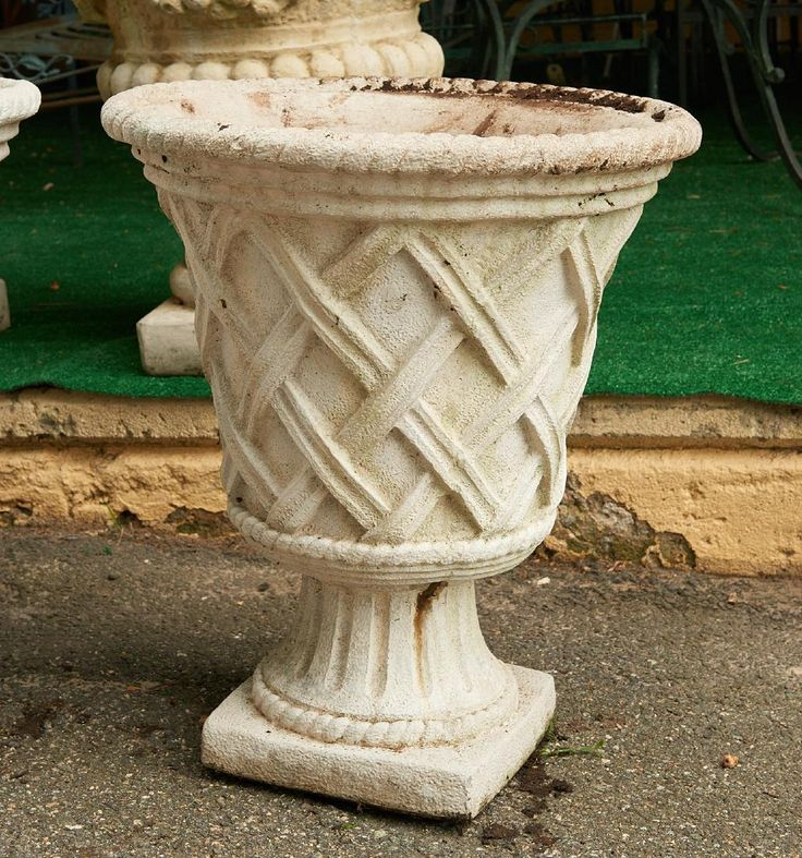 Lot: (2) pairs large cast stone garden urns, 25% buyers premium, shipped out of King of Prussia PALot Number: 1433, Starting Bid: $50, Auctioneer: Millea Bros Ltd, Auction: ABC: Estate Finds, Online Only, Date: July 31st, 2017 CDT