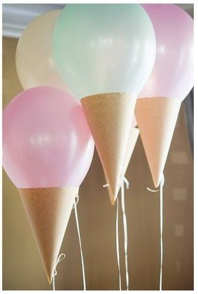Easy Ice Cream Cone Decoration - Fold tan construction paper into a cone and tape the bottom of the balloon inside of the top of the cone