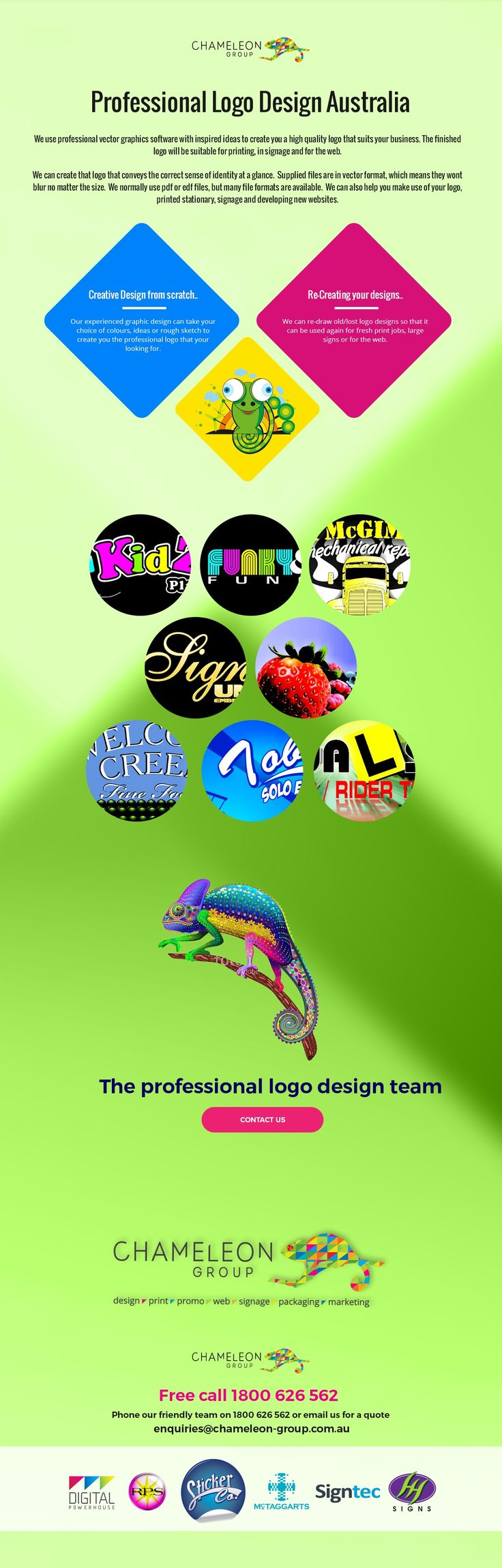 Professional Logo Design Australia. We use professional vector graphics software with inspired ideas to create you a high quality logo that suits your business. The finished logo will be suitable for printing, in signage and for the web.
