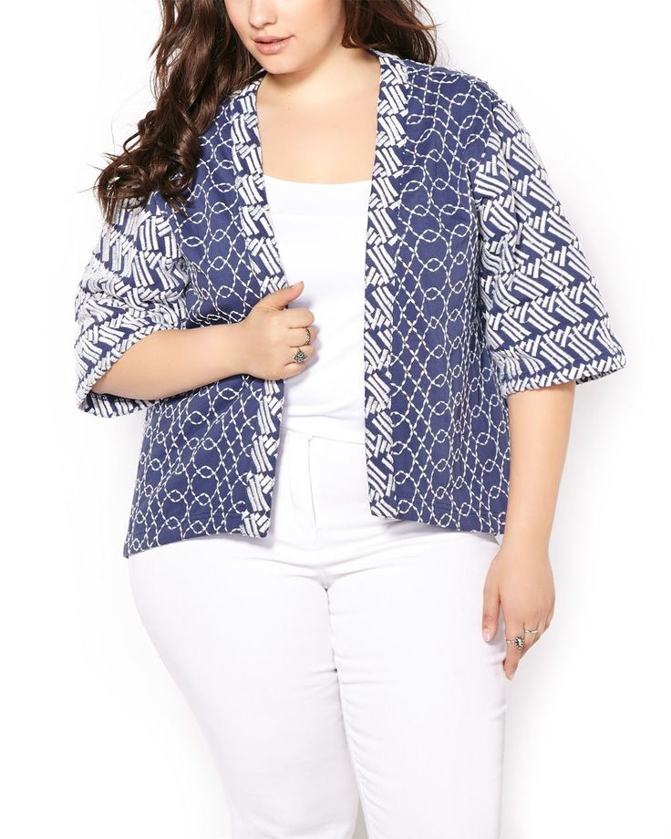 Stand out with this gorgeous plus-size jacket boasting a cool blue hue and trendy boho pattern. Made with 100% cozy cotton, it has an open front, wide elbow sleeves and boxy fit. A fashionable top layer!