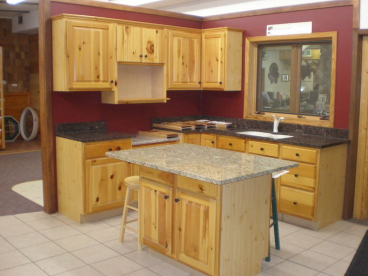 Knotty Pine Kitchen Cabinets With Small Kitchen Island
