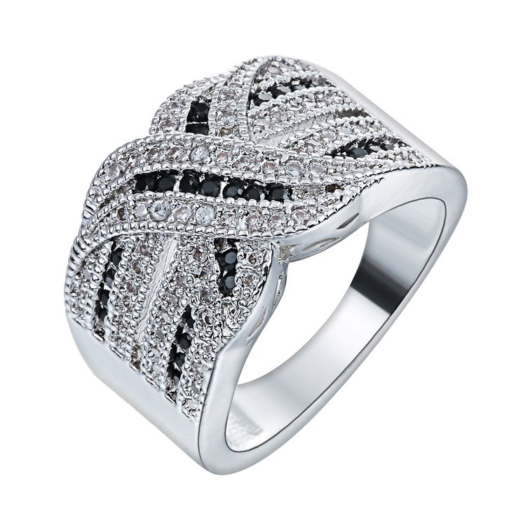 New Arrival Luxury X Micro Black white Zircon Pave Setting Cross Men Finger Ring For Wedding Engagement Elegant Fashion Jewelry