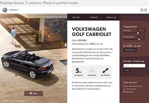 Volkswagen Showroom website by Martin Klausen, via Behance