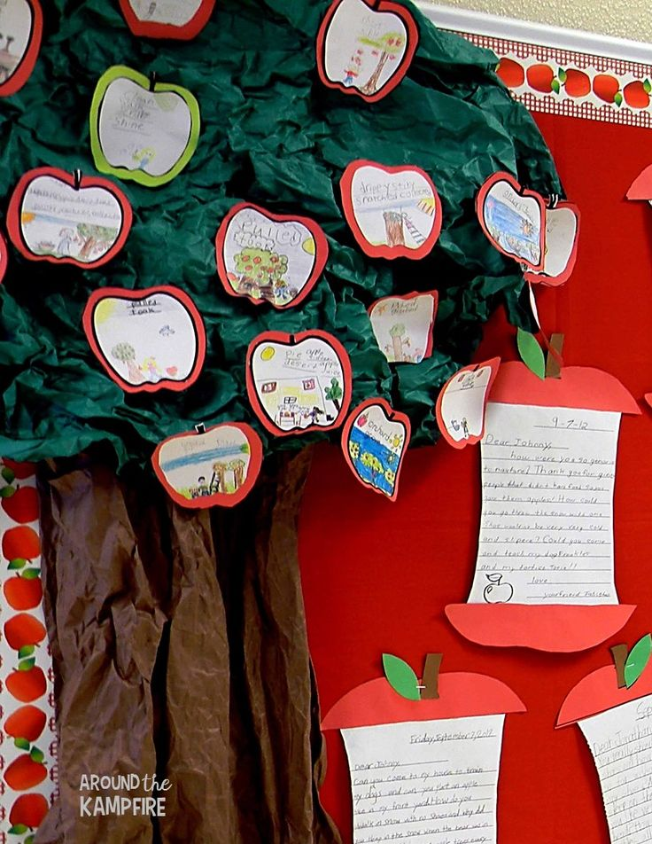 Apple themed bulletin board ideas to display student work