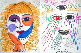 Art Therapy: Sharing Directives: Outside/Inside Masks, Many great directive ideas for groups and individuals on this site.