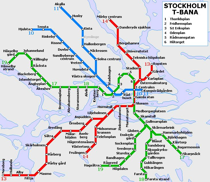 Plan du métro de Stockholm et tarifs Travelcard