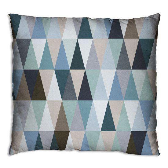 Woonexpress Driehoekjes - Sierkussen - 60x60 cm - Blauw/Groen