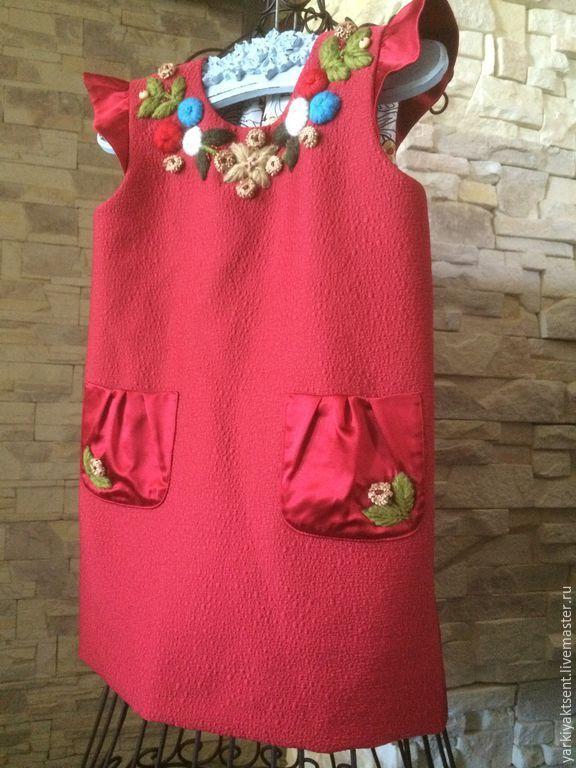 Купить Детский сарафан СТ1015 - брусничный, однотонный, сарафан для девочки, вышивка ручная, вышивка цветов