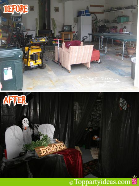 Before and After Shot of Garage for Halloween Makeover …