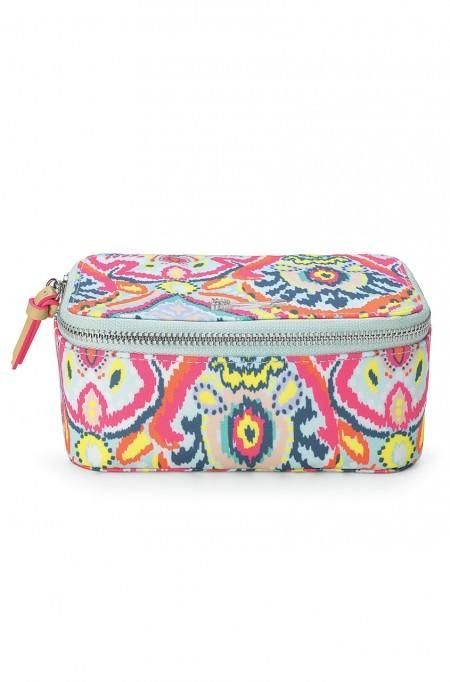 Keep your jewelry in order on the road with our stylish travel jewelry box in neon multi ikat print! Shop jewelry boxes at Stella & Dot.