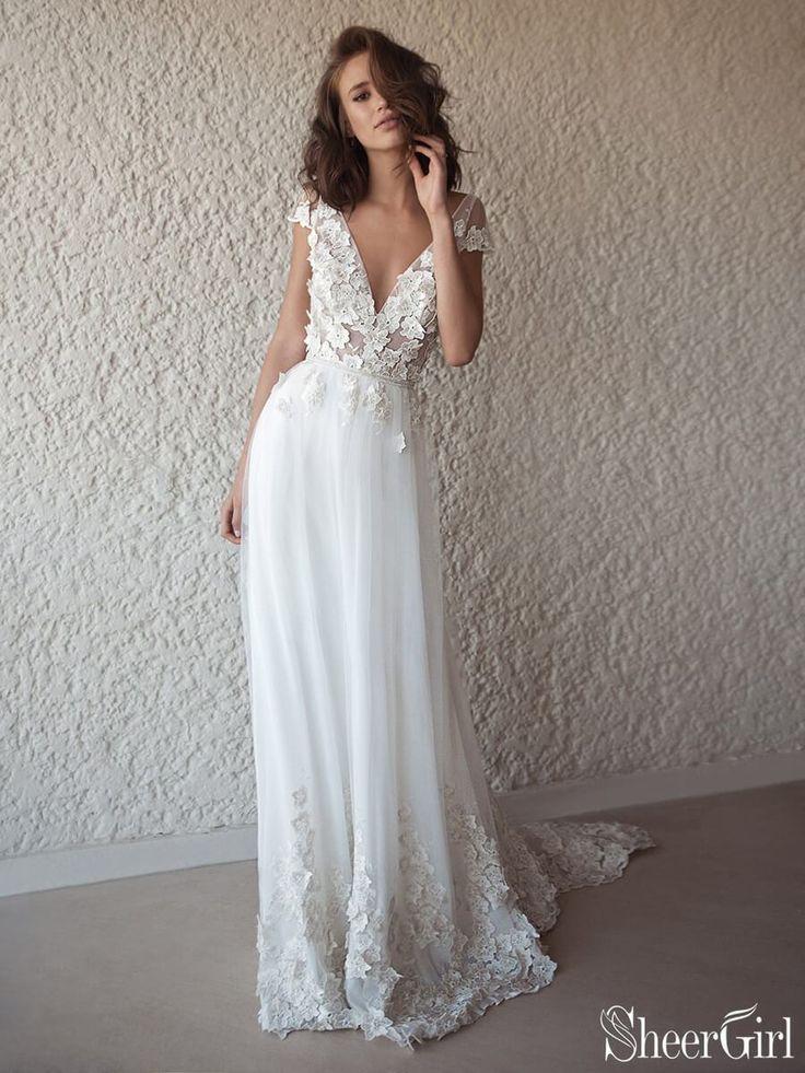 Ivory Cap Sleeve See Through Boho Wedding Dresses Beach Bridal Dress A | SheerGi…