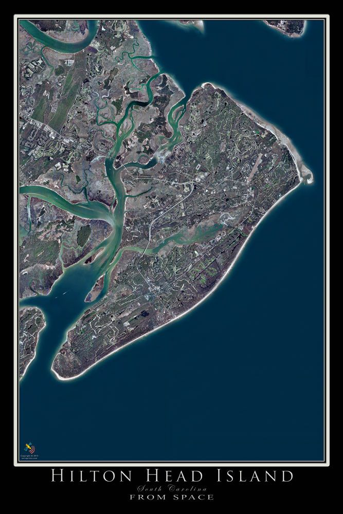 Hilton Head Island South Carolina From Space Satellite Poster Map