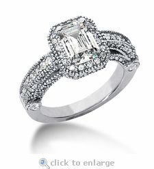 Ziamond Cubic Zirconia 1 Carat 7x5 Emerald Cut Halo Cathedral Style  Solitaire Engagement Ring in 14K