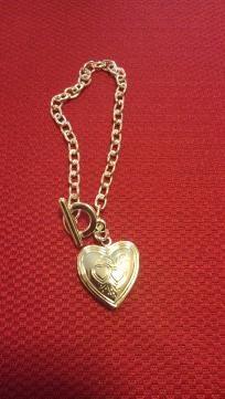 Stunning Silver heart locket charm Toggle bracelet $5 Free shipping