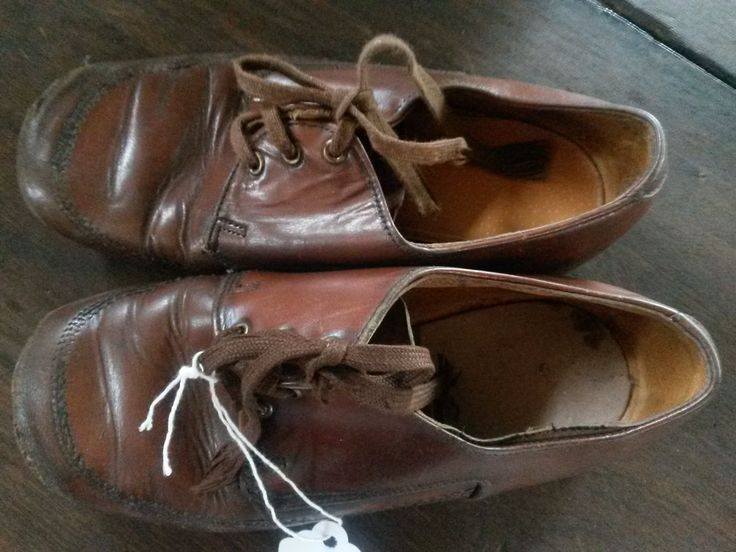 Vintage pair of leather children's shoes that belonged to an 84 year old gentleman that kept them all his like