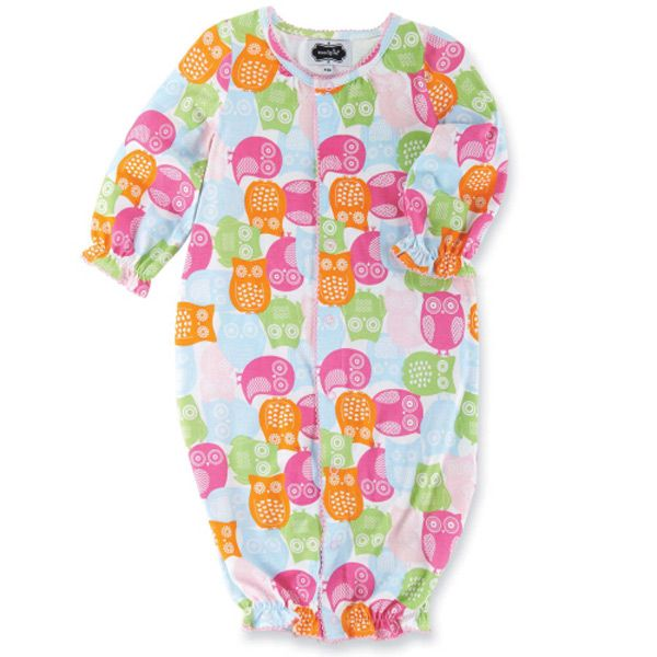 Bamboo Owl Convertible One Piece Layettes Onesies And