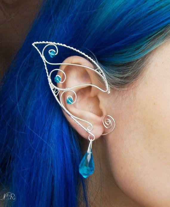 "Elven/Elf Ear Cuffs/Wraps - ""Turqoise stars""-Silver plated"