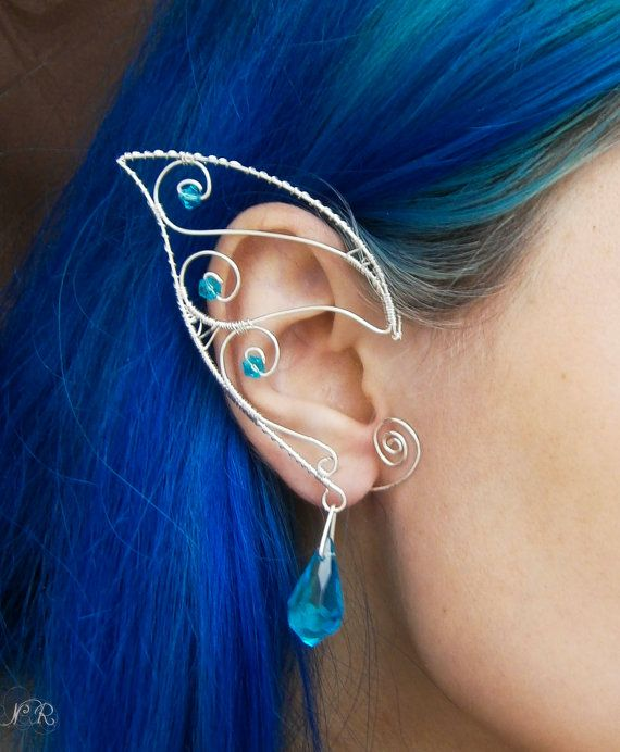 "Elven/Elf Ear Cuffs/Wraps - ""Turqoise stars""-Silver plated"