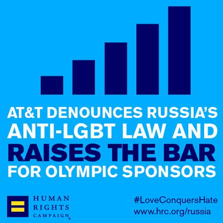 AT&T Condemns Anti-LGBT Law in Russia, Sets Example for Other Olympic Sponsors | Human Rights Campaign