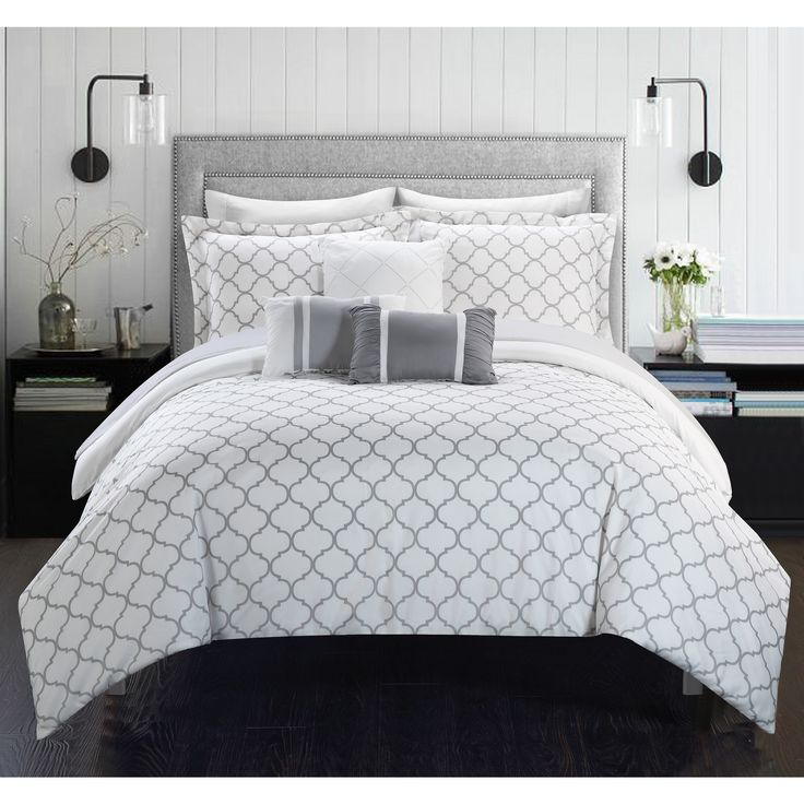 Chic Home Edney Pinch Pleated Ruffled Reversible White 10-piece Bed-in-a-Bag with a Sheet Set   Overstock.com Shopping - The Best Deals on Comforter Sets
