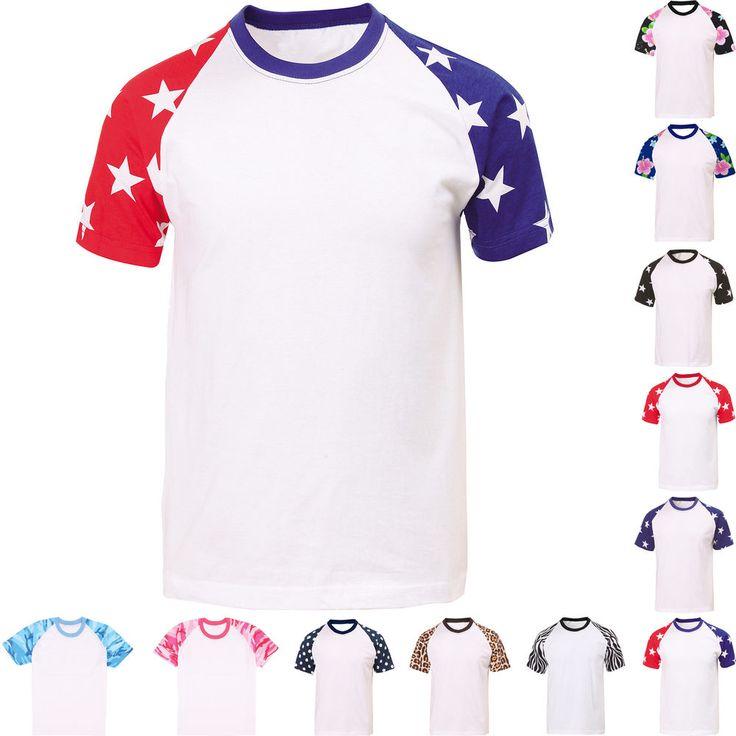 Mens Womens Short Sleeve Raglan Baseball T-Shirt Crew Neck Plain Sport Team Tee #hellobincom #ShortSleeveRaglanTShirt