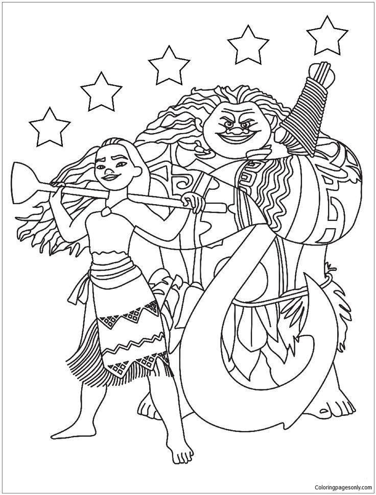 Moana Maui With The Stars Coloring Page Star coloring
