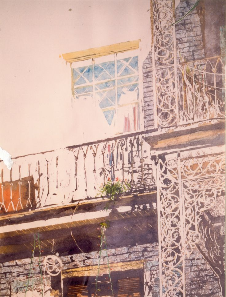 "wrought iron balcony new orleans 30"" x 22""  micheal zarowsky - watercolour on arches paper private collection"
