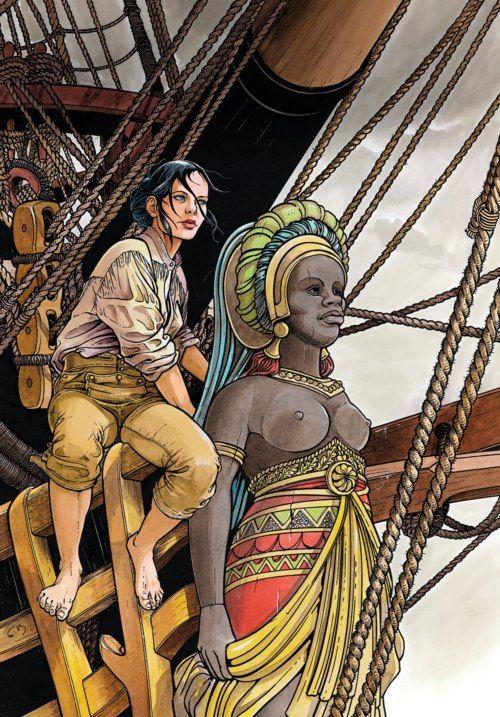 """Dessin de François Bourgeon pour la couverture de l'album """"Le bois d'ébène"""" de la série """"Les Passagers du Vent"""". Egalement utilisé pour l'affiche du festival Crayonantes 2010."""