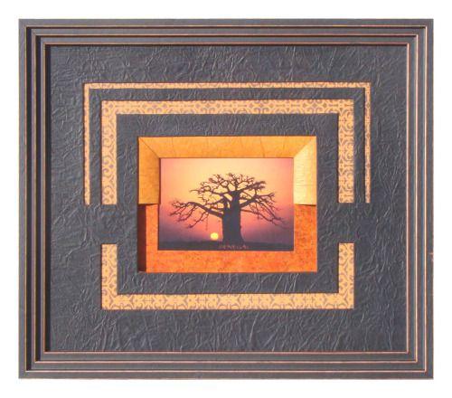 Baobab réalisé par Régine en 2012Biseau français orange interrompu, sur une cartonnette orange vif. PP noir ajouré pour laisser apparaître un papier fantaisie.