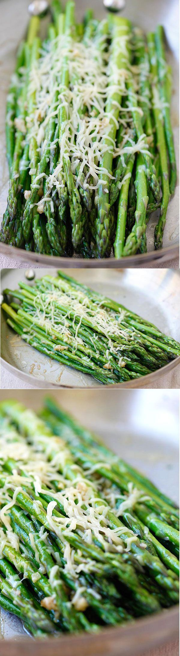 Skillet Parmesan Asparagus – the easiest asparagus recipe ever! 10 mins on skillet then topped with Parmesan cheese, healthy and tasty!   rasamalaysia.com