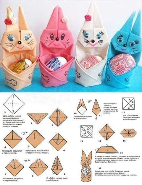 5. Put your Easter eggs gently in the arms of your DIY cute bunny made out of folded napkin: Top 27 Cute and Money Saving DIY Crafts to Welcome The Easter