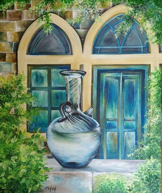 إبريق مياه زجاجي - من لوحات الفنانة هنا الساحلي