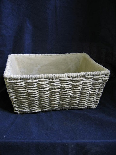 Concrete basket planter.