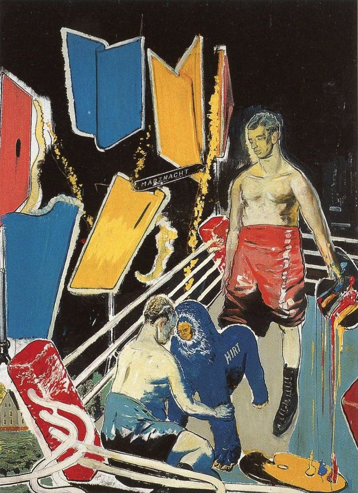 Neo Rauch works without preconceived ideas of the result in his work. His palette typically contains strong complementary colors. There is also a combination of organic and non organic elements as well as different times zones.