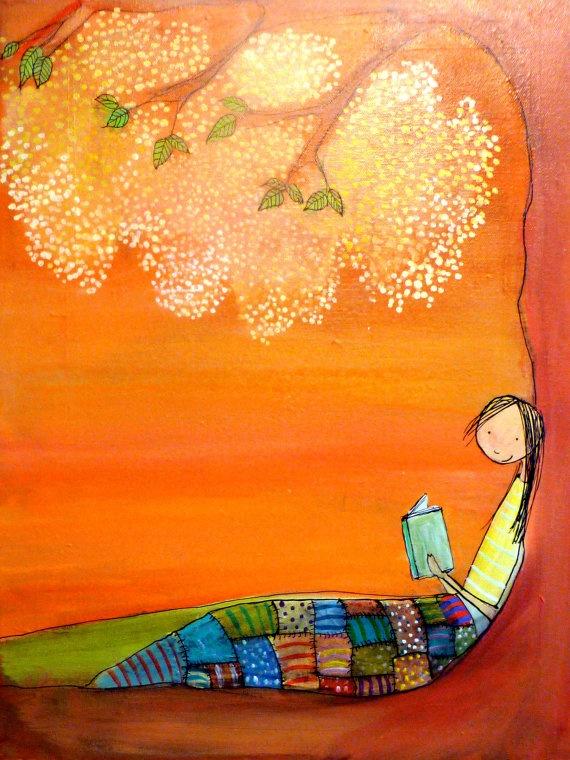Orange Tree Reader  Original Painting by johannawright on Etsy, $245.00