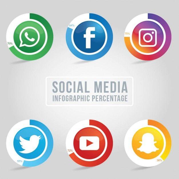 Sei sociali icone dei media con percentuali di infografica Vettore gratuito