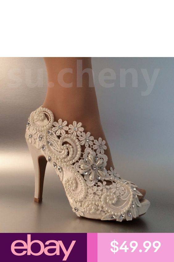 21ddbd9e192db0 su.cheny 3 4 heel satin white ivory lace pearls open toe Wedding Bridal  shoes in 2019