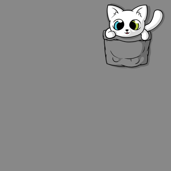 Cute White Pocket Cat - NeatoShop